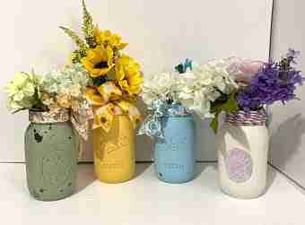 This picture of Mason jar floral arranges are what is described in the how-to instructions on this page.